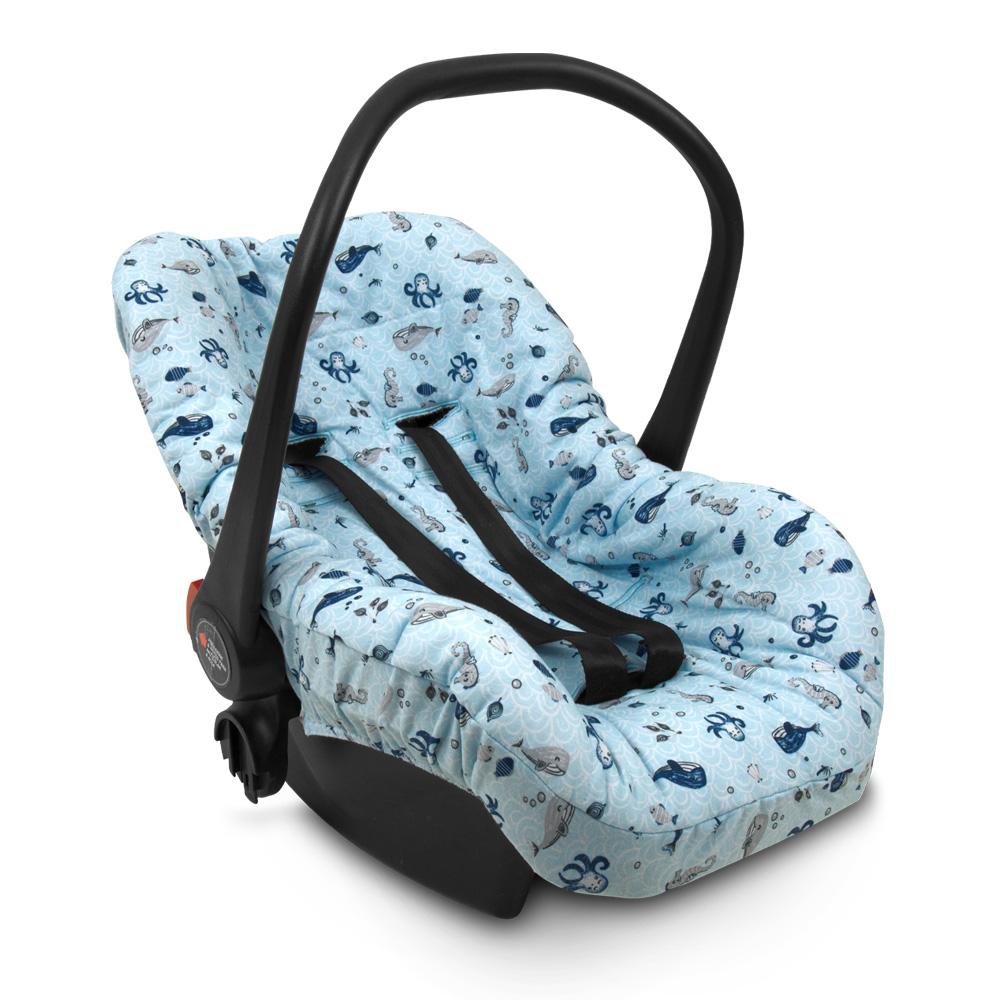 Capa De Bebê Conforto Fundo Do Mar Azul - Hug