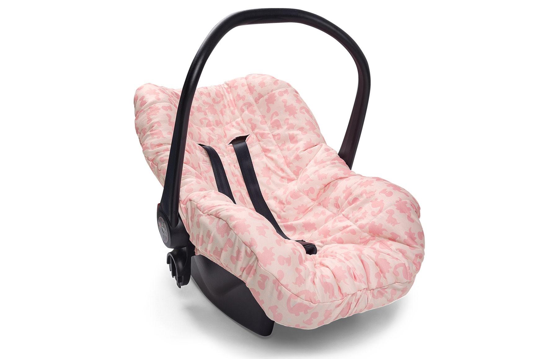 Capa de Bebê Conforto Meus Dinos Rosa
