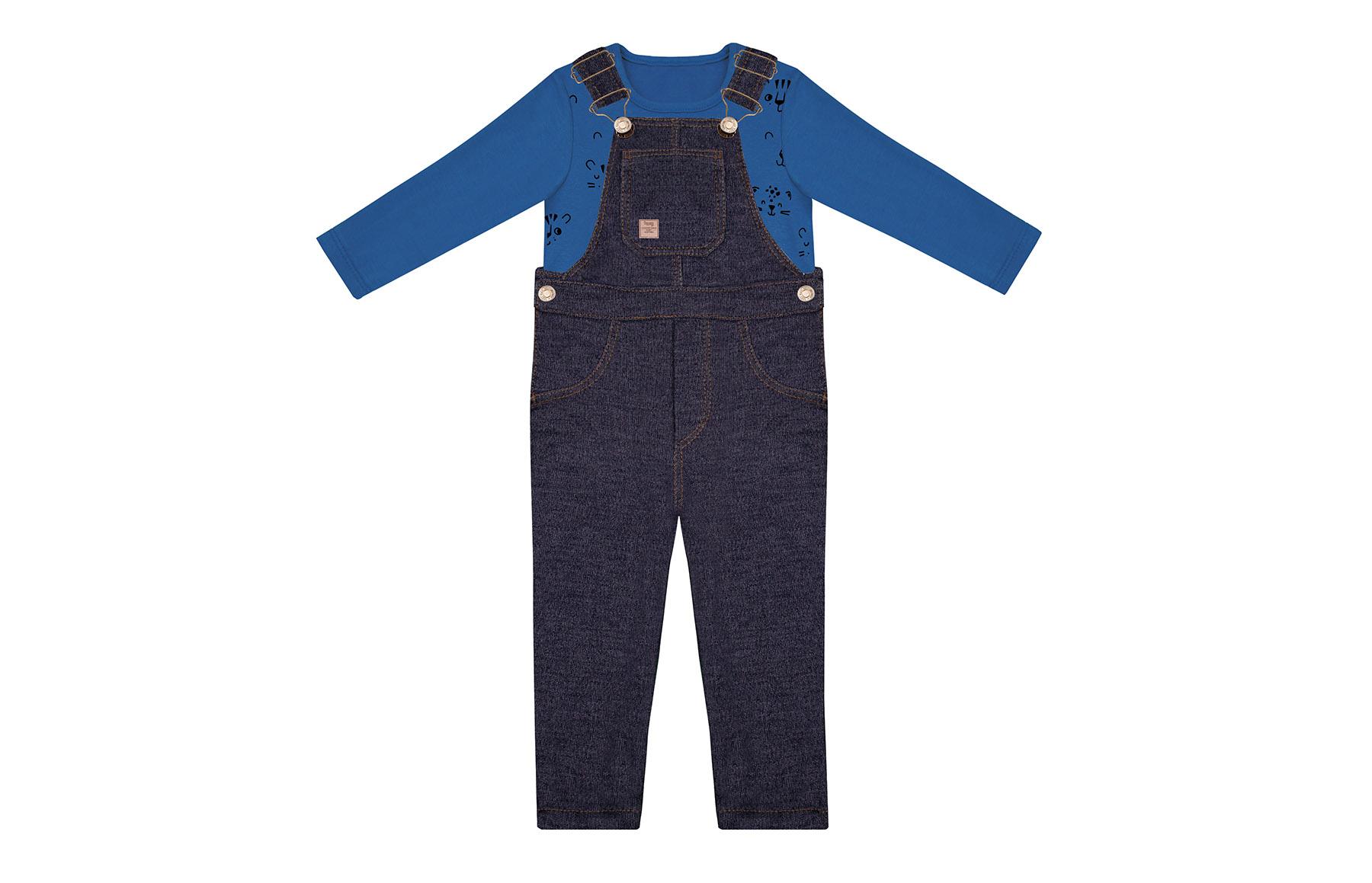 Conjunto Blusa + Jardineira Azul