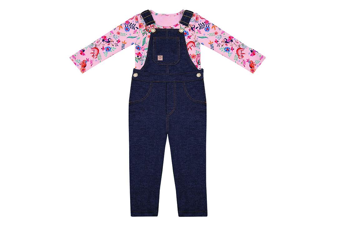 Conjunto Blusa + Jardineira - Rosa