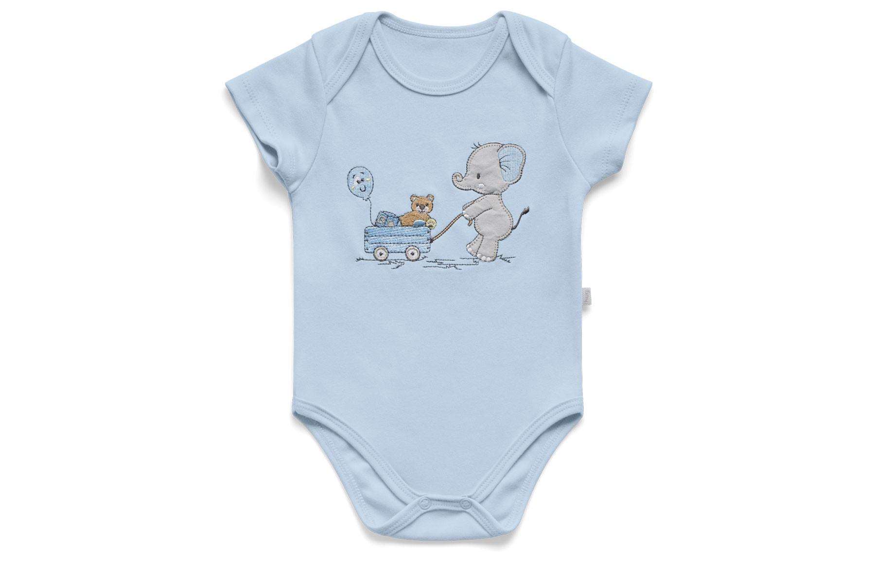 Conjunto Body Curto + Tapa Fralda - Lembrança de Infância Azul