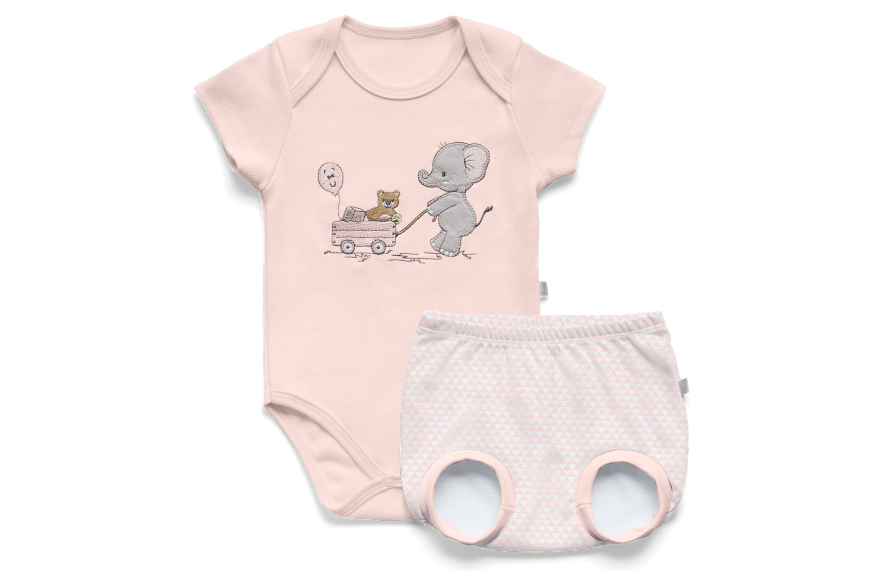 Conjunto Body Curto + Tapa Fralda - Lembrança de Infância Rosa