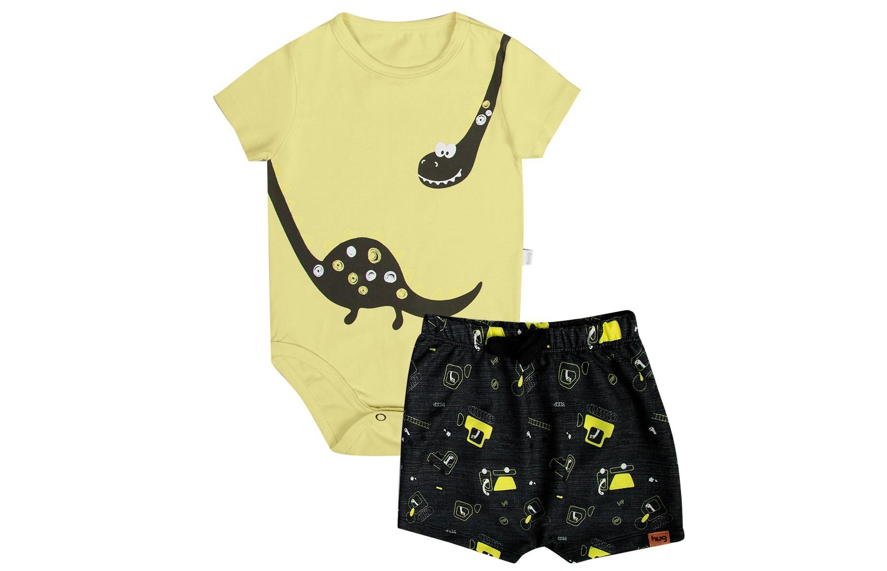 Conjunto Body Manga Curta + Bermuda - Amarelo