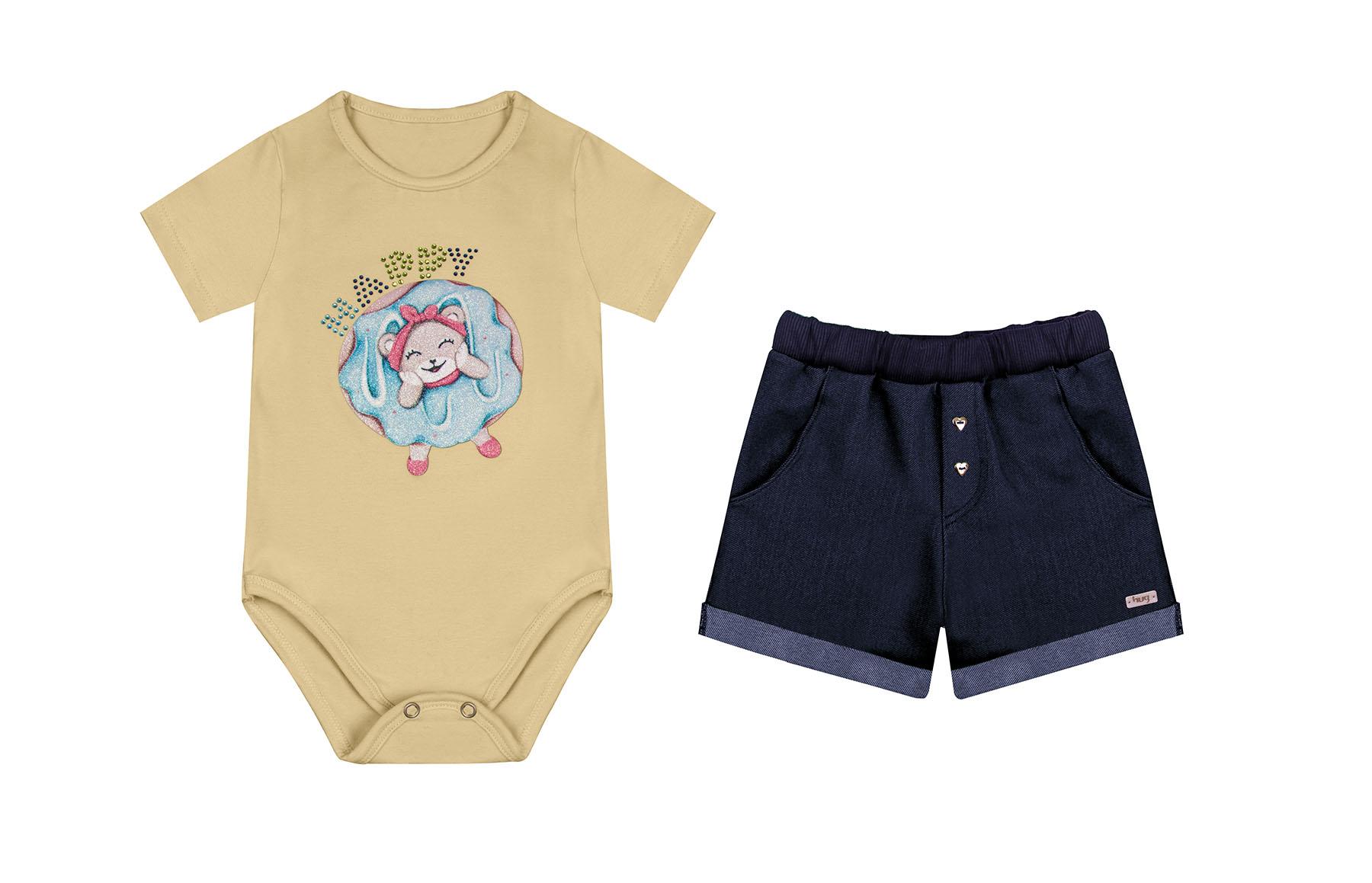 Conjunto Body Manga Curta + Shorts Amarelo