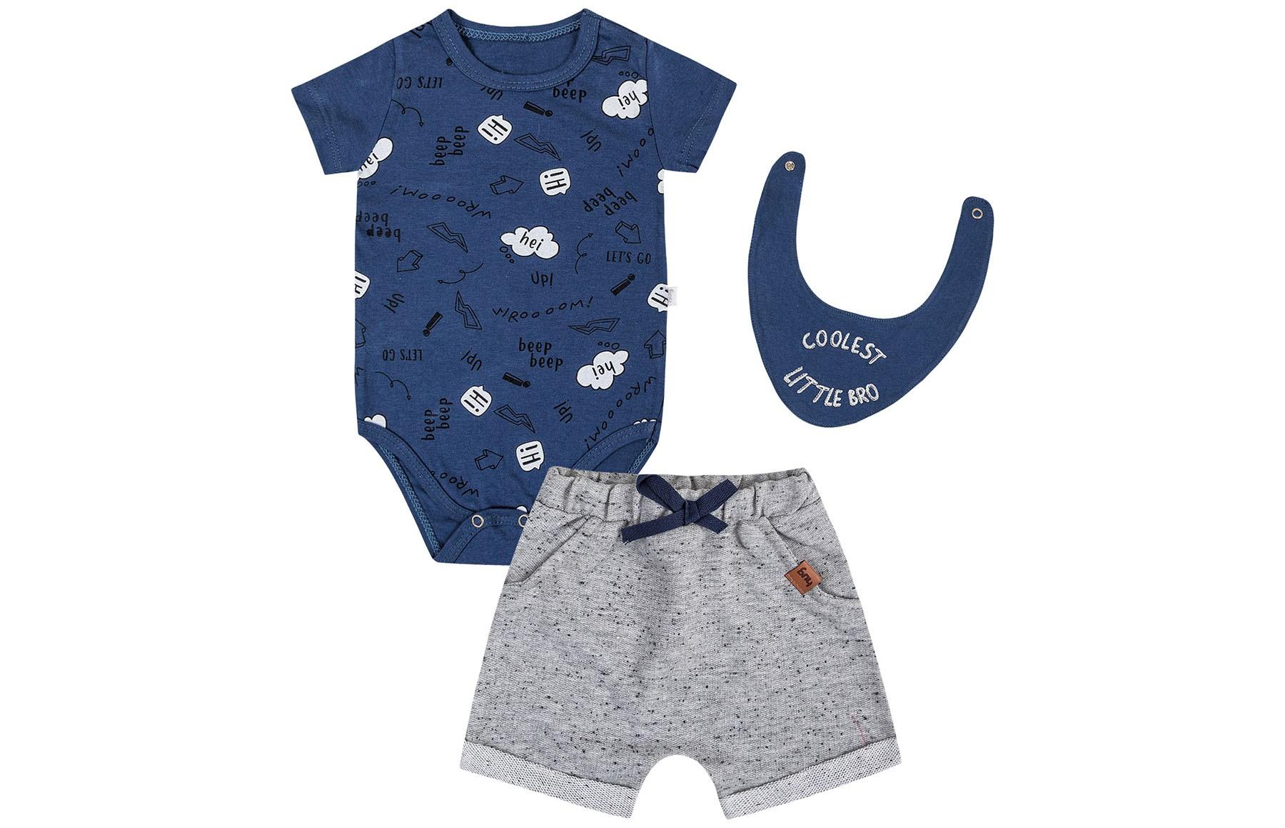 Conjunto Body mg Curto + Shorts + Bandana - Azul