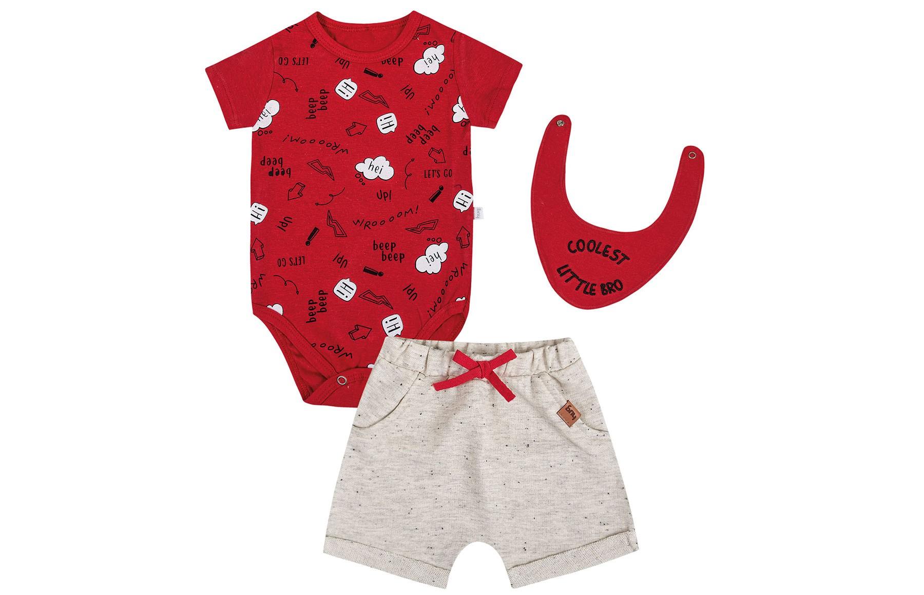 Conjunto Body mg Curto + Shorts + Bandana - Vermelho