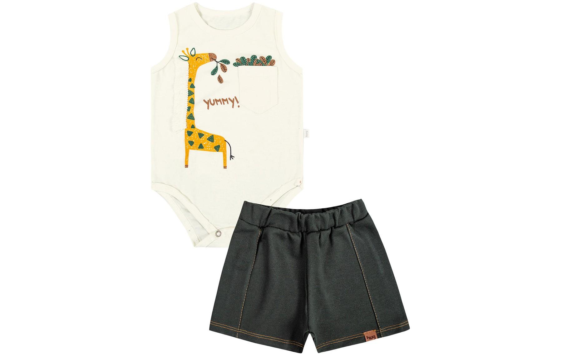 Conjunto Body Regata + Shorts Masculino - Bege