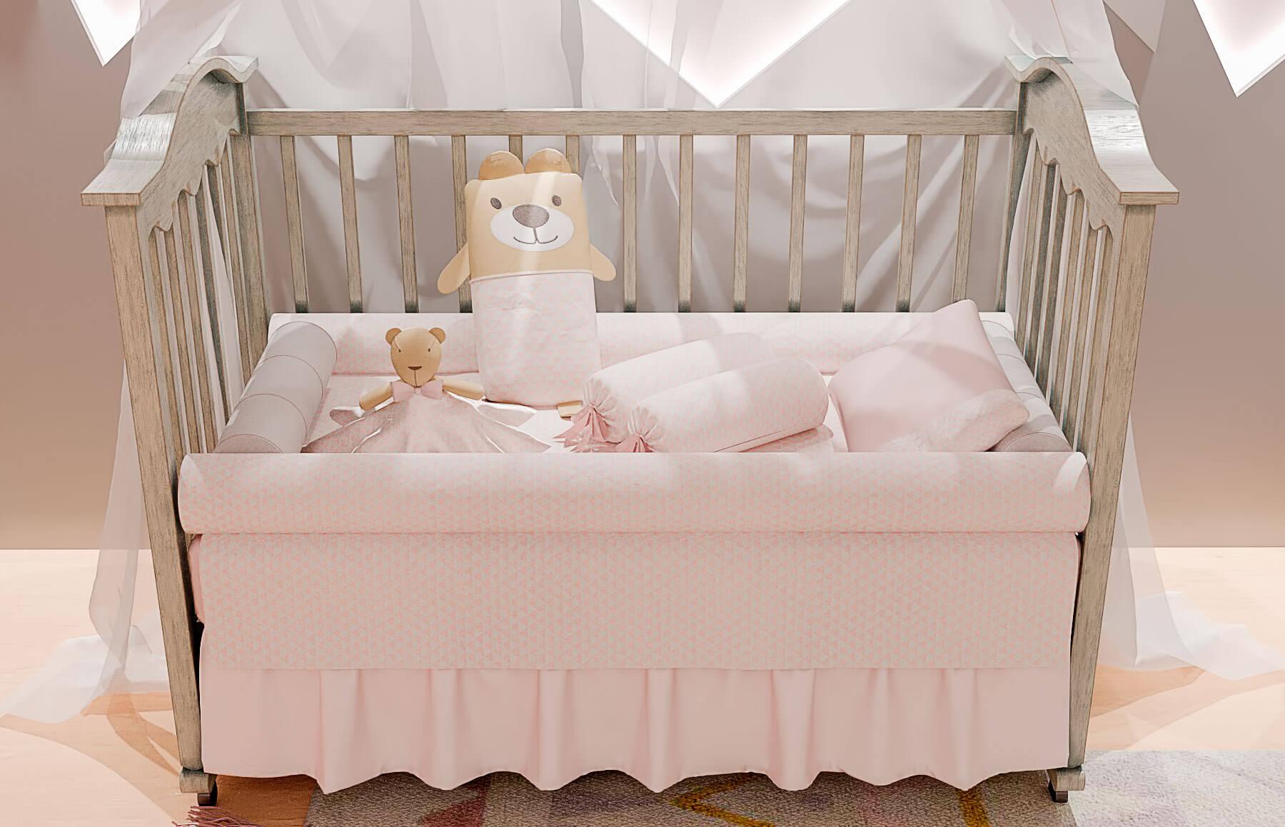 Kit Berço 9 peças Lembranças De Infância Rosa