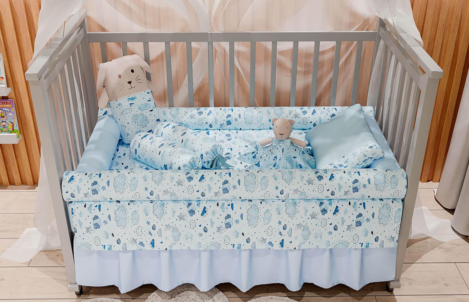 Kit Berço 9 peças Névoa Azul
