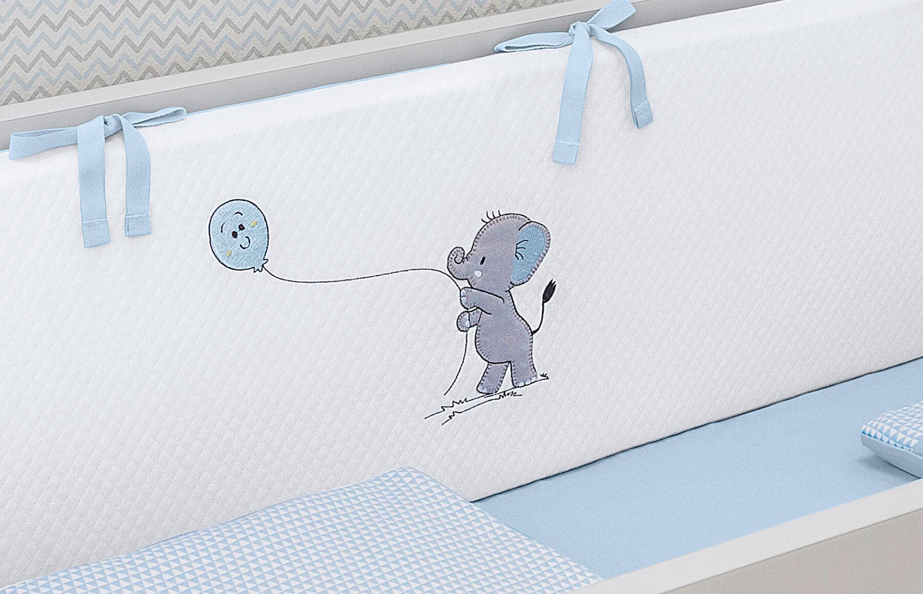 Kit Berço Slim 7 peças Lembranças De Infância Azul
