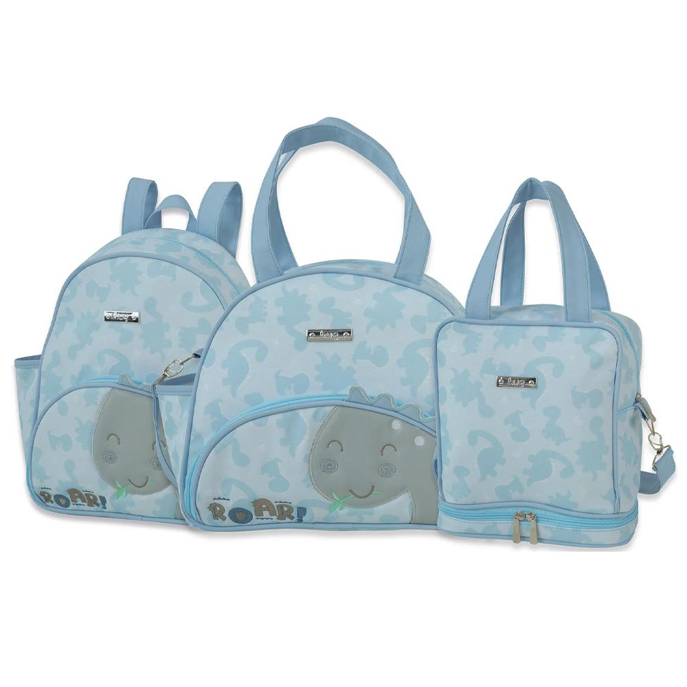 Kit Bolsa Maternidade Grande, Mochila e Fasqueira - Linha Meus Dinos Azul