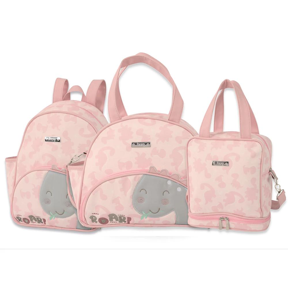 Kit Bolsa Maternidade Grande, Mochila e Fasqueira - Linha Meus Dinos Rosa