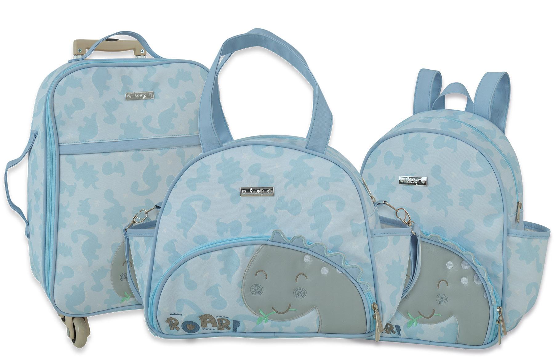 Kit Bolsa maternidade, Mochila e Frasqueira - Linha Meus Dinos Azul