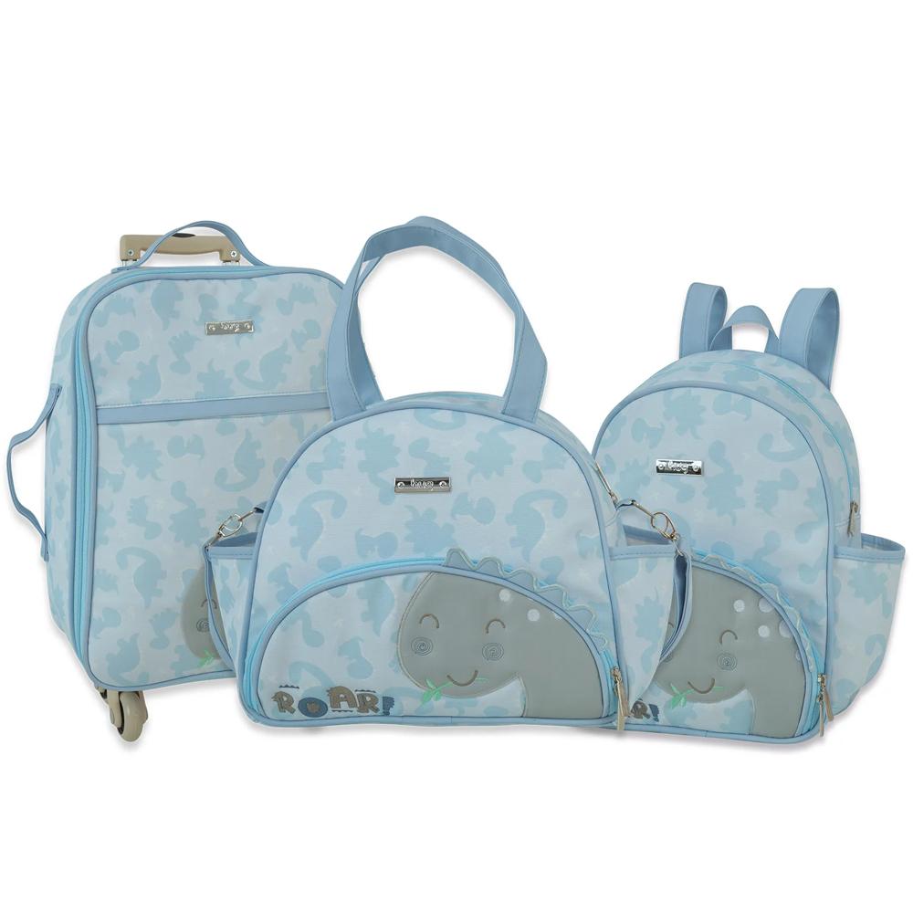 Kit Mala maternidade, Mochila e Frasqueira - Linha Meus Dinos Azul