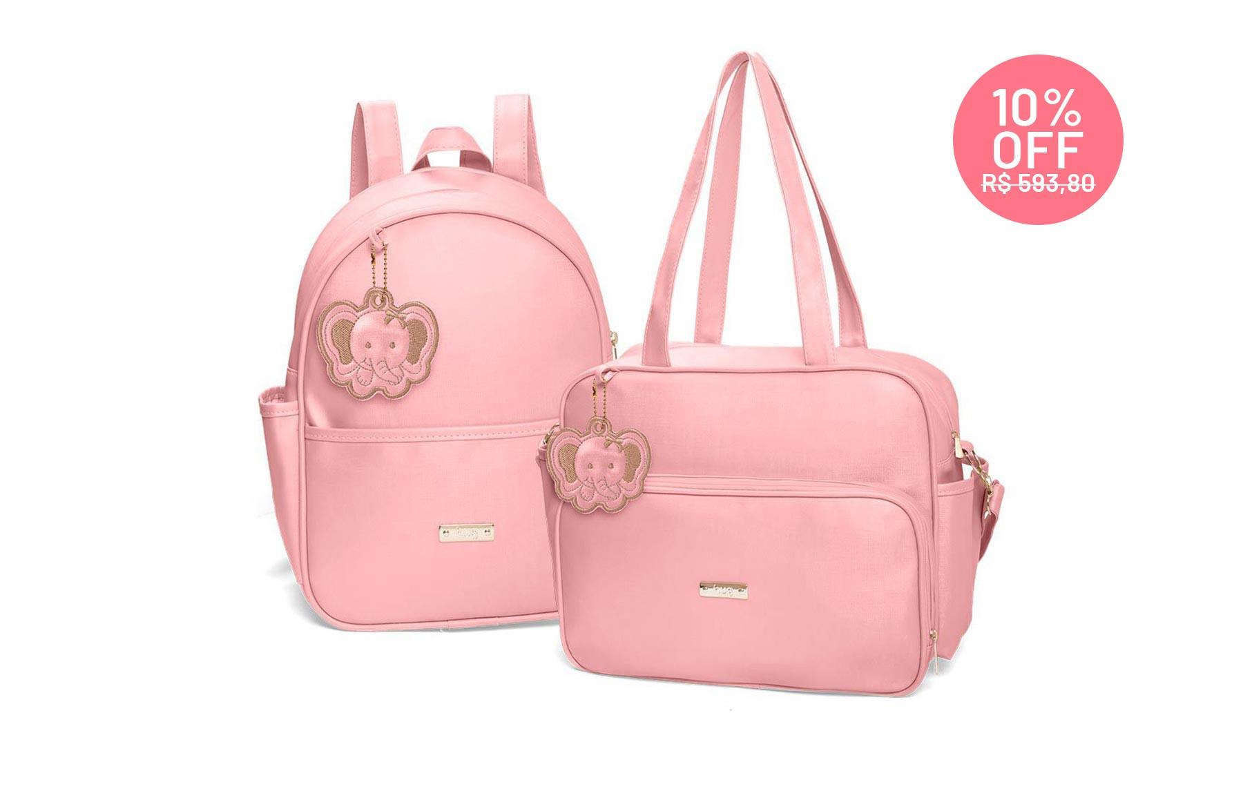 Kit bolsas 2 peças linha Cassis cor rosa