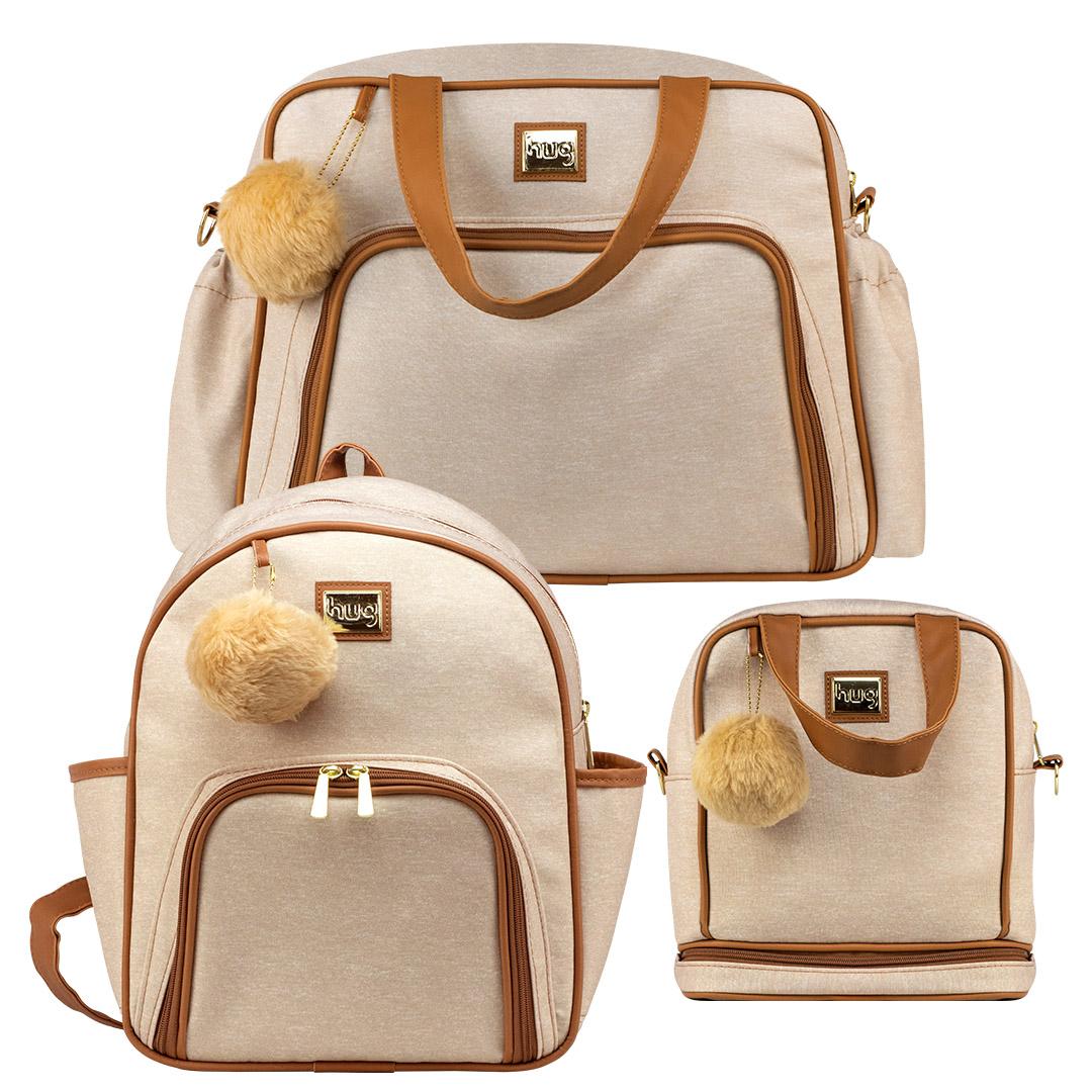 Kit bolsas com 3 peças linha Barcelona cor bege (1 bolsa grande, 1 mochila e 1 frasqueira térmica)