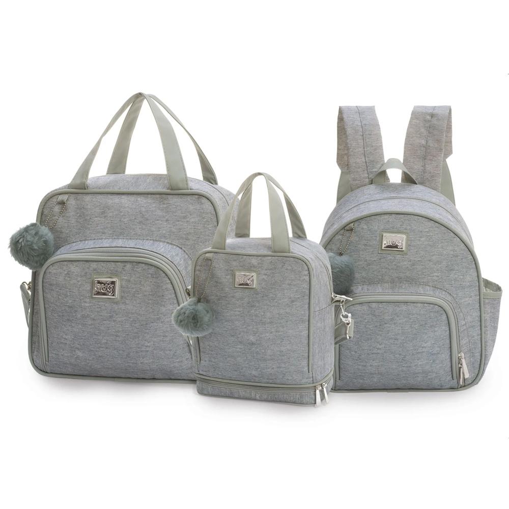 Kit bolsas com 3 peças linha Barcelona cor mescla (1 bolsa grande, 1 mochila e 1 frasqueira térmica)