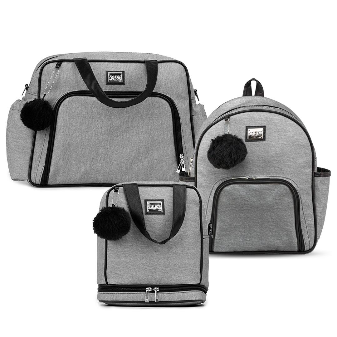 Kit bolsas com 3 peças linha Barcelona cor mescla/preta (1 bolsa grande, 1 mochila e 1 frasqueira térmica)