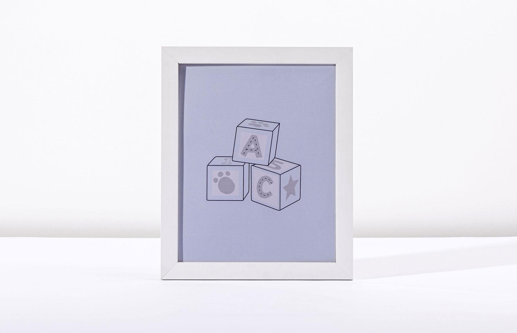 Kit Com 03 Quadros Lembranças De Infância Azul