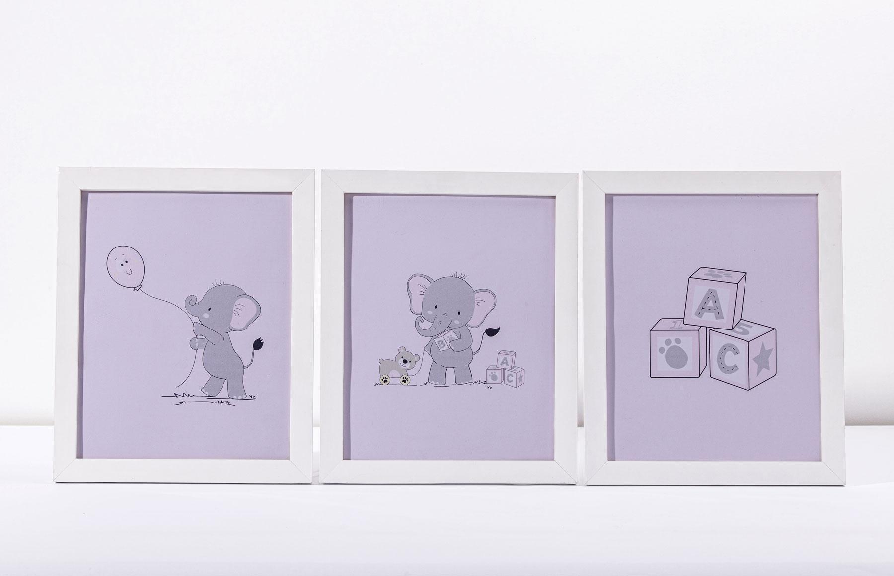 Kit Com 03 Quadros Lembranças De Infância Rosa