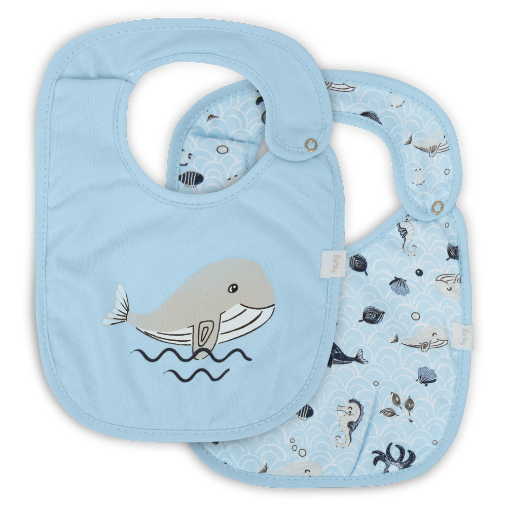 Kit Com 2 Babadores Fundo Do Mar Azul - Hug