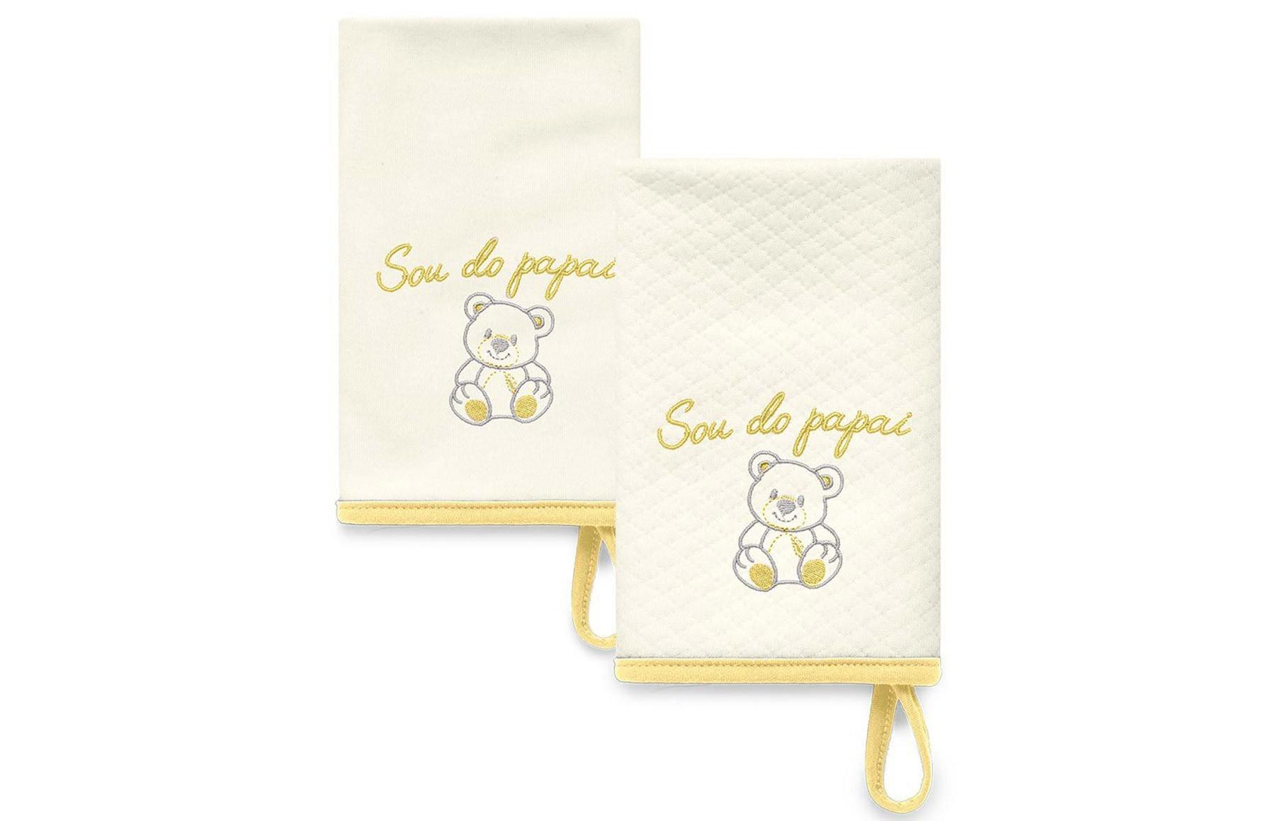 Kit Com 2 Babinhas Amarelo Acessórios - Sou do Papai