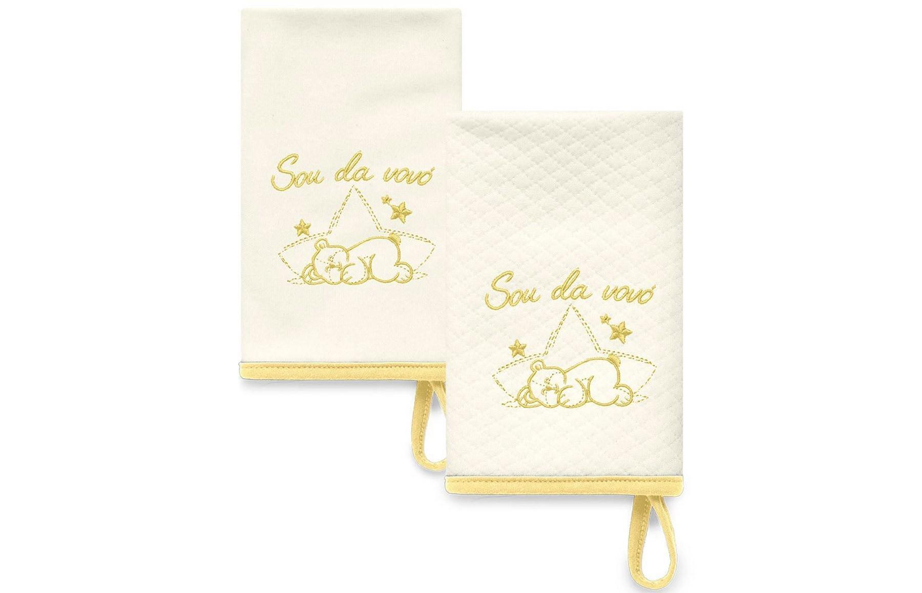 Kit Com 2 Babinhas Amarelo Acessórios - Sou da Vovó
