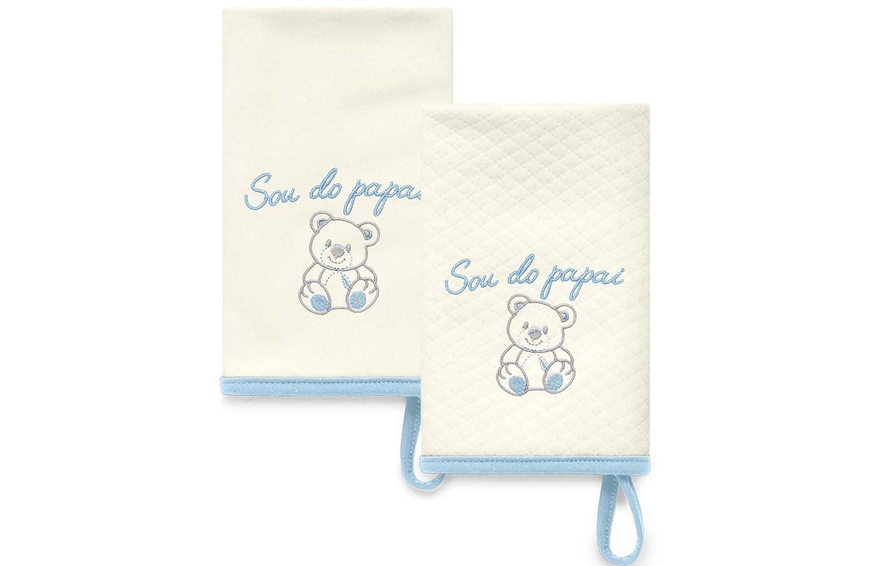Kit Com 2 Babinhas Azul Acessórios - Sou do Papai