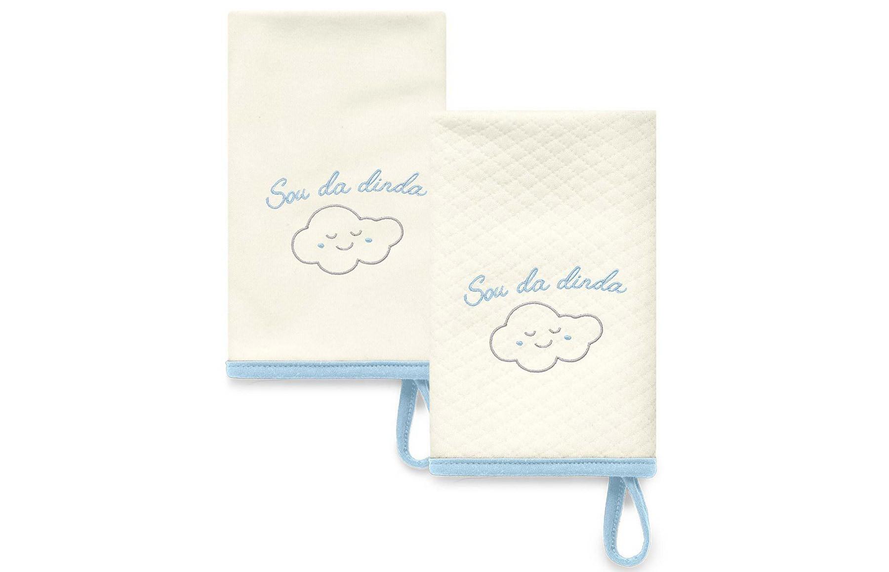 Kit Com 2 Babinhas Azul Acessórios - Sou da Dinda