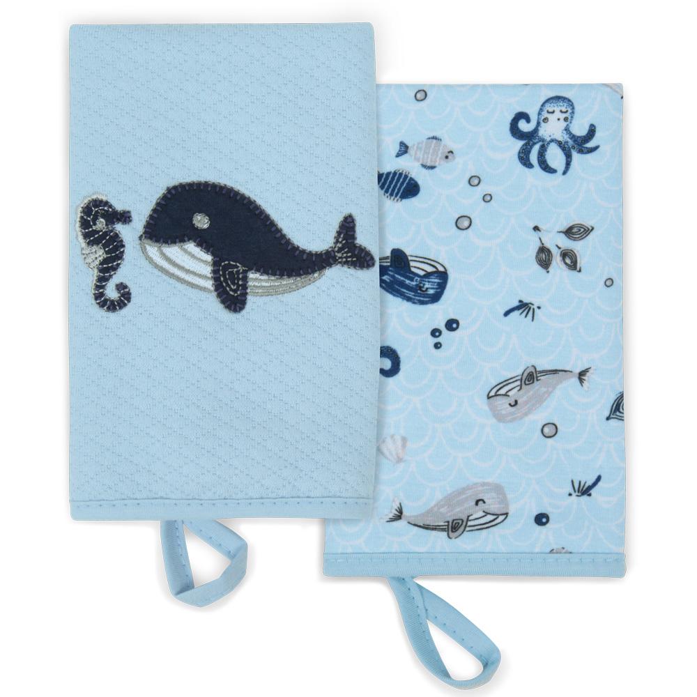Kit Com 2 Babinhas Fundo Do Mar Azul - Hug