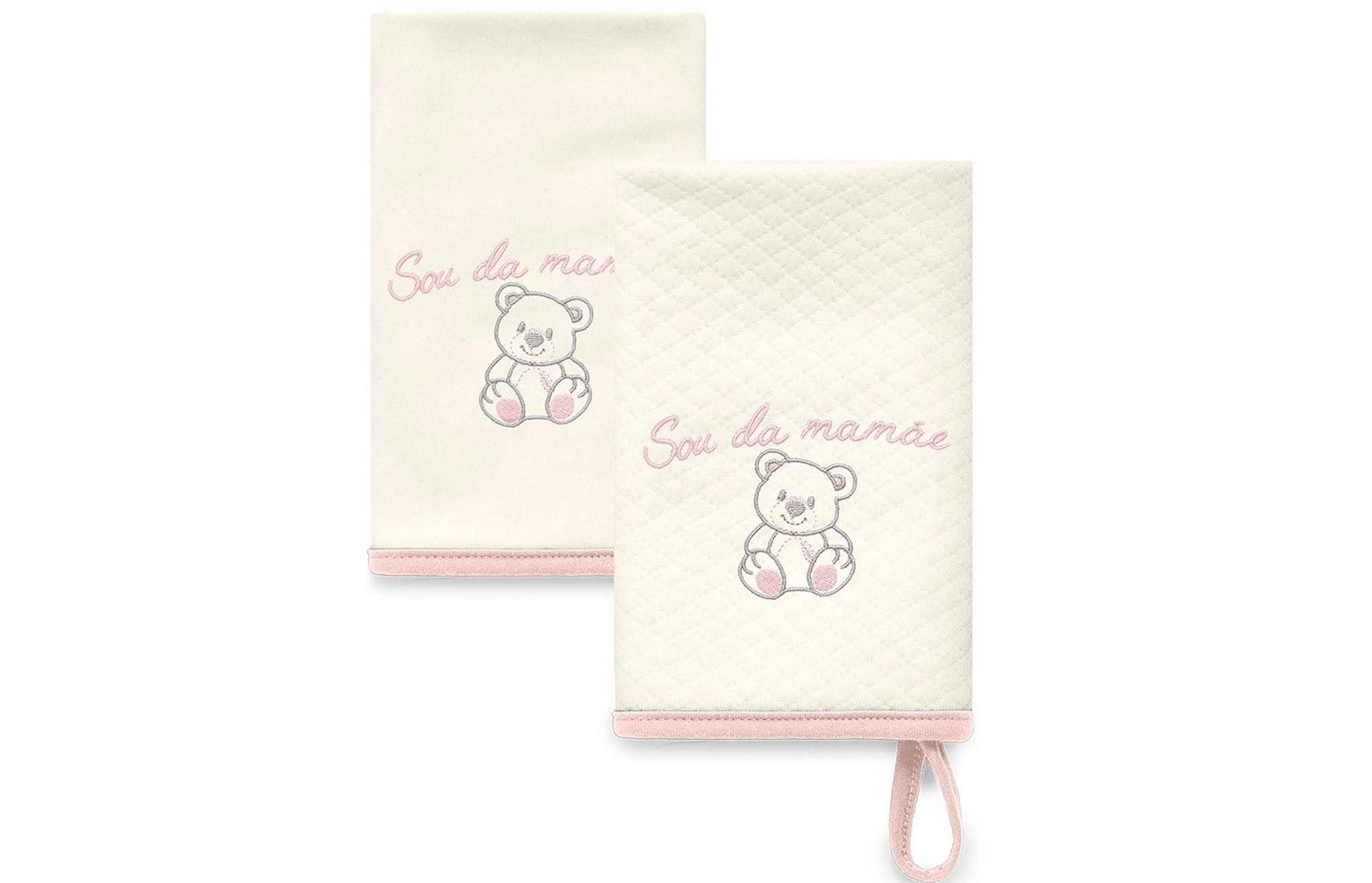 Kit Com 2 Babinhas Rosa Acessórios - Sou da Mamãe