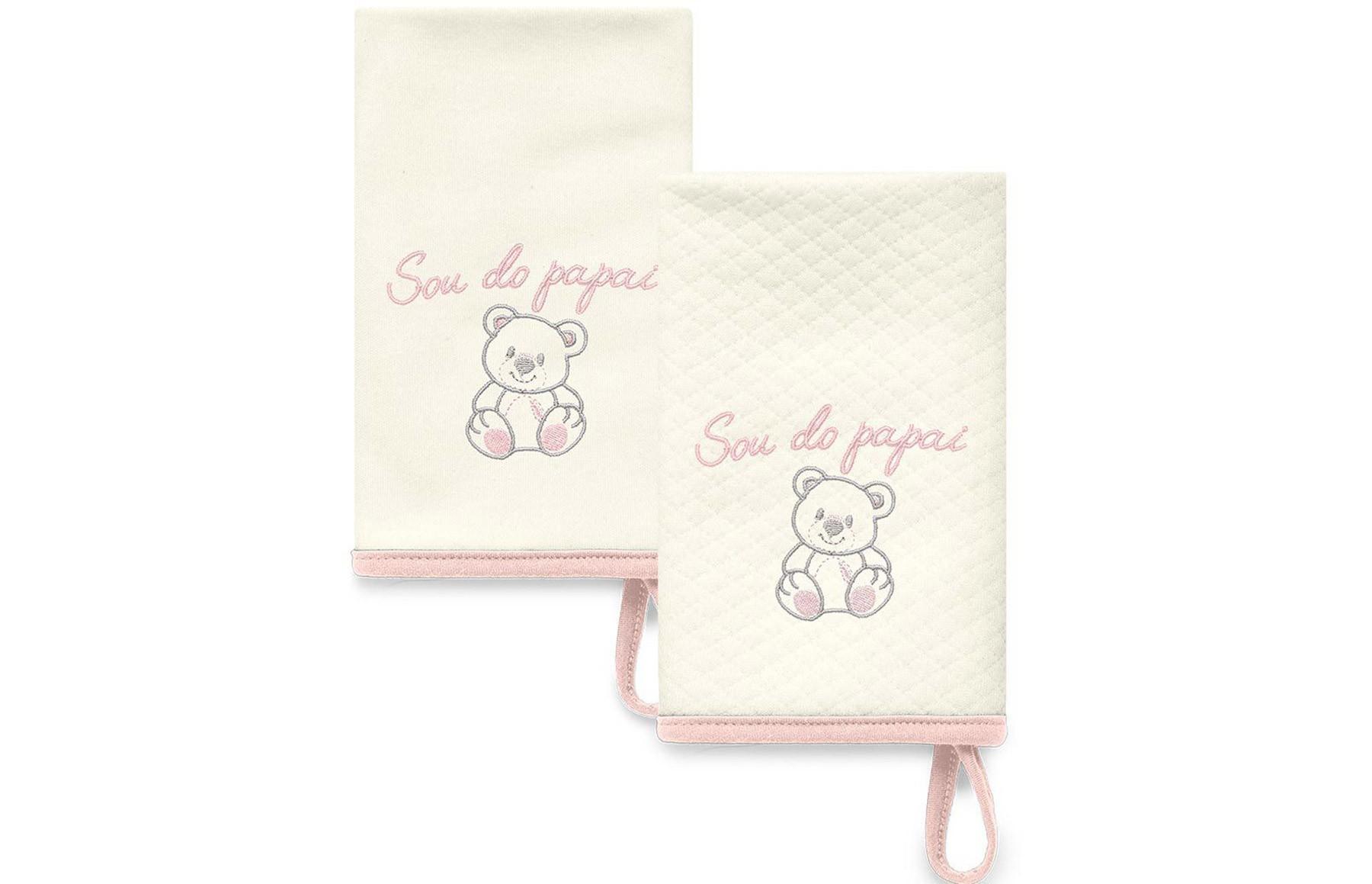 Kit Com 2 Babinhas Rosa Acessórios - Sou do Papai