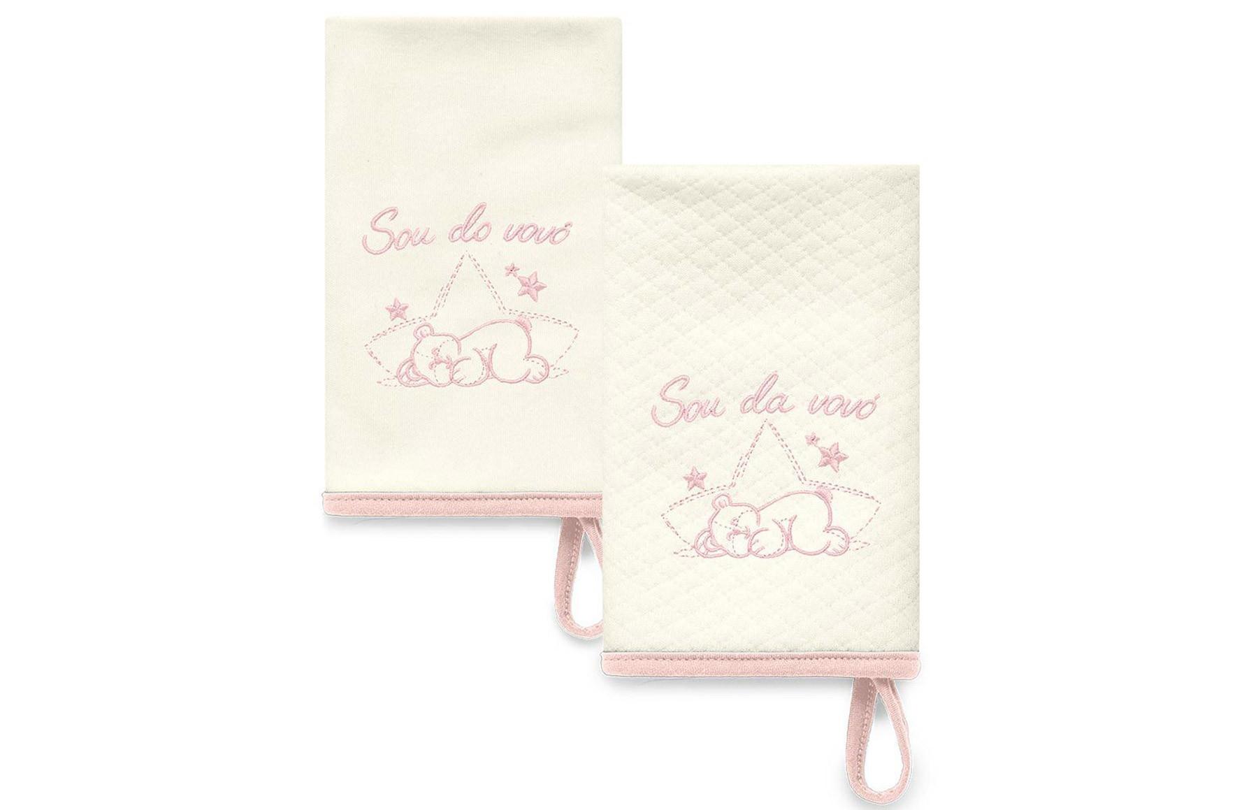 Kit Com 2 Babinhas Rosa Acessórios -Sou da Vovó