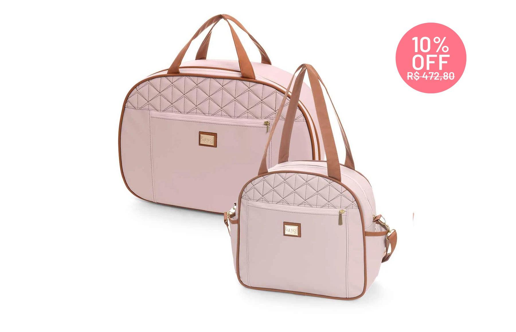 Kit de bolsas 2 peças linha Bombom cor rosa