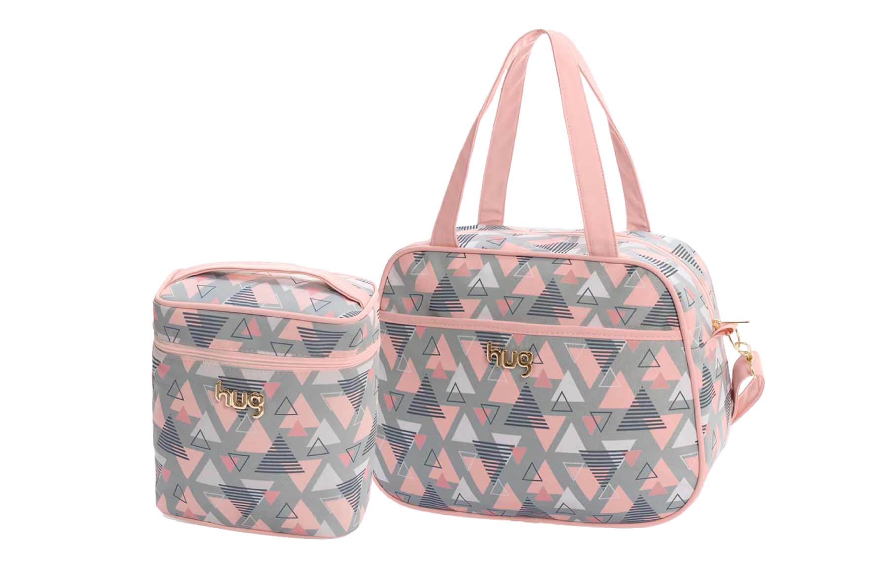 Kit de bolsas 2 peças linha Madri cor rosa