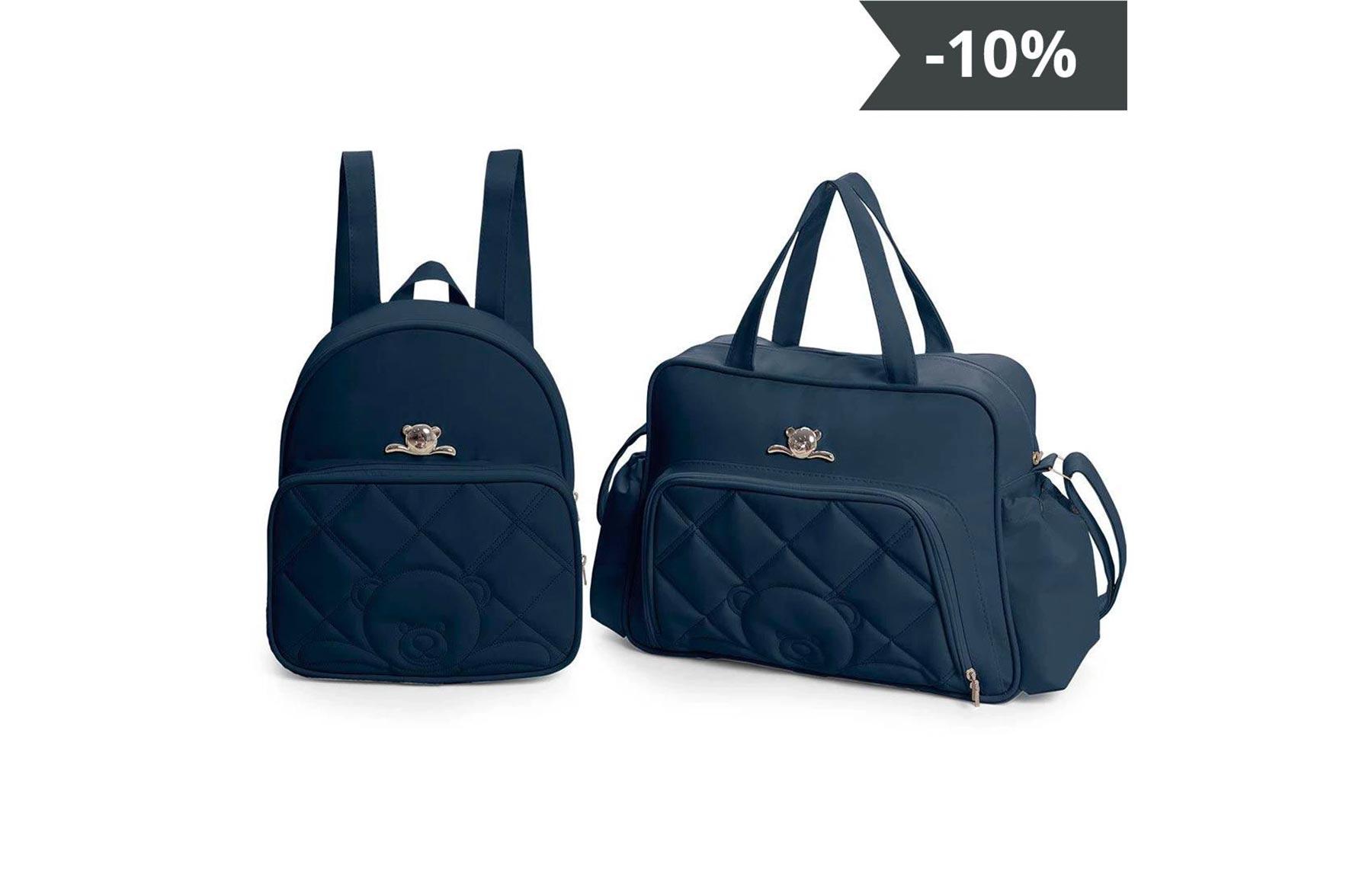 Kit de bolsas 2 peças linha Meu ursinho cor azul marinho