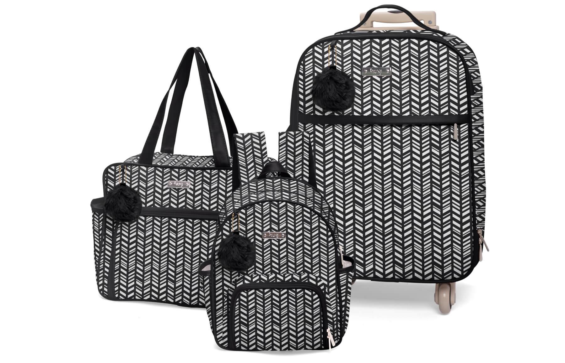Kit de bolsas 3 peças linha Marrocos cor preta