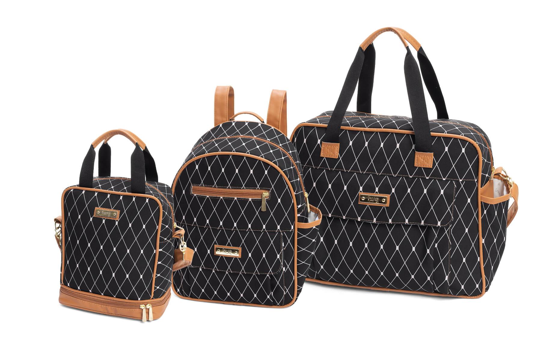 Kit de bolsas 3 peças linha Nancy cor preta