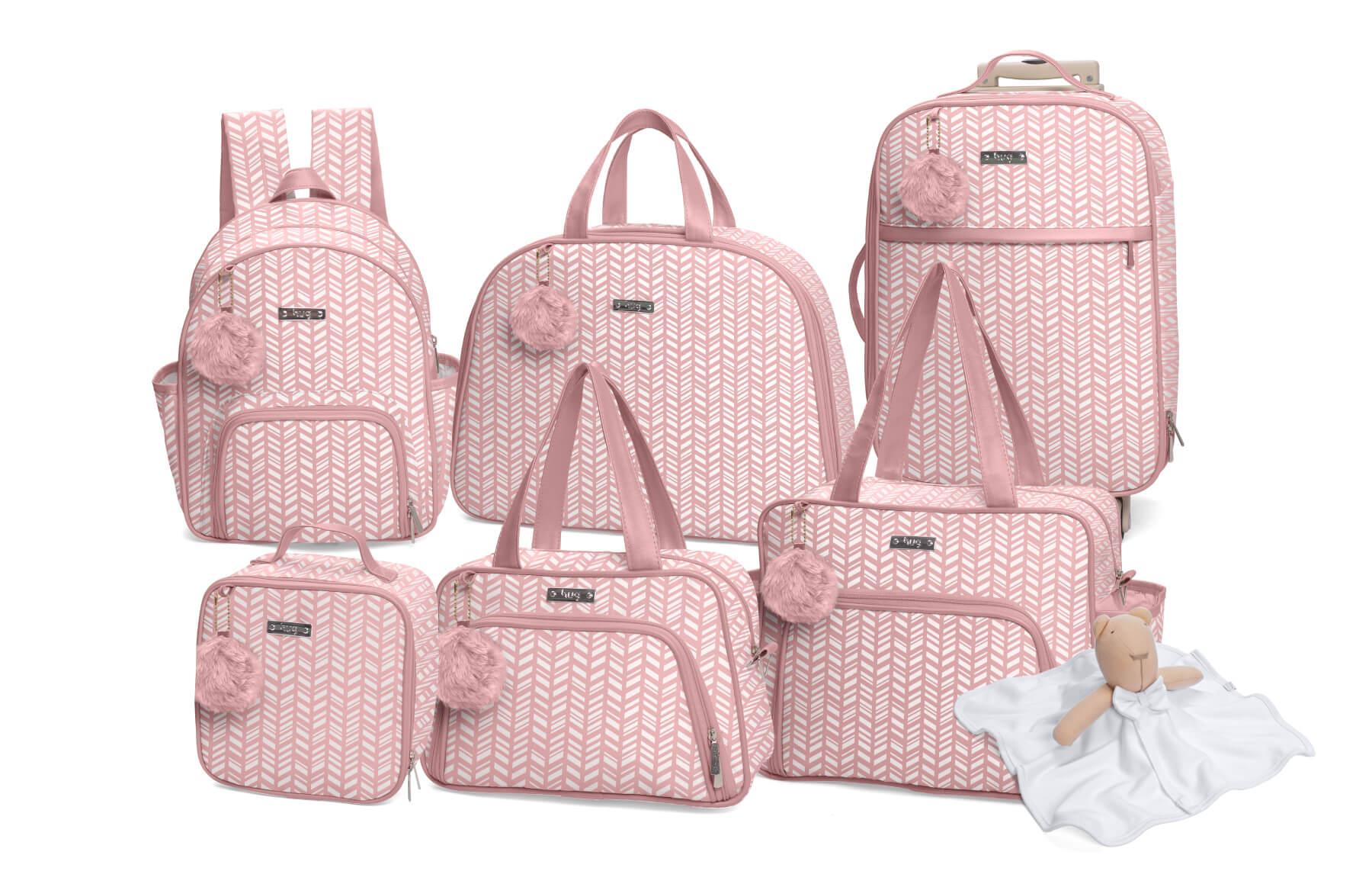 Kit de bolsas 6 peças linha Marrocos cor rosa + 1 NANINHA GRÁTIS