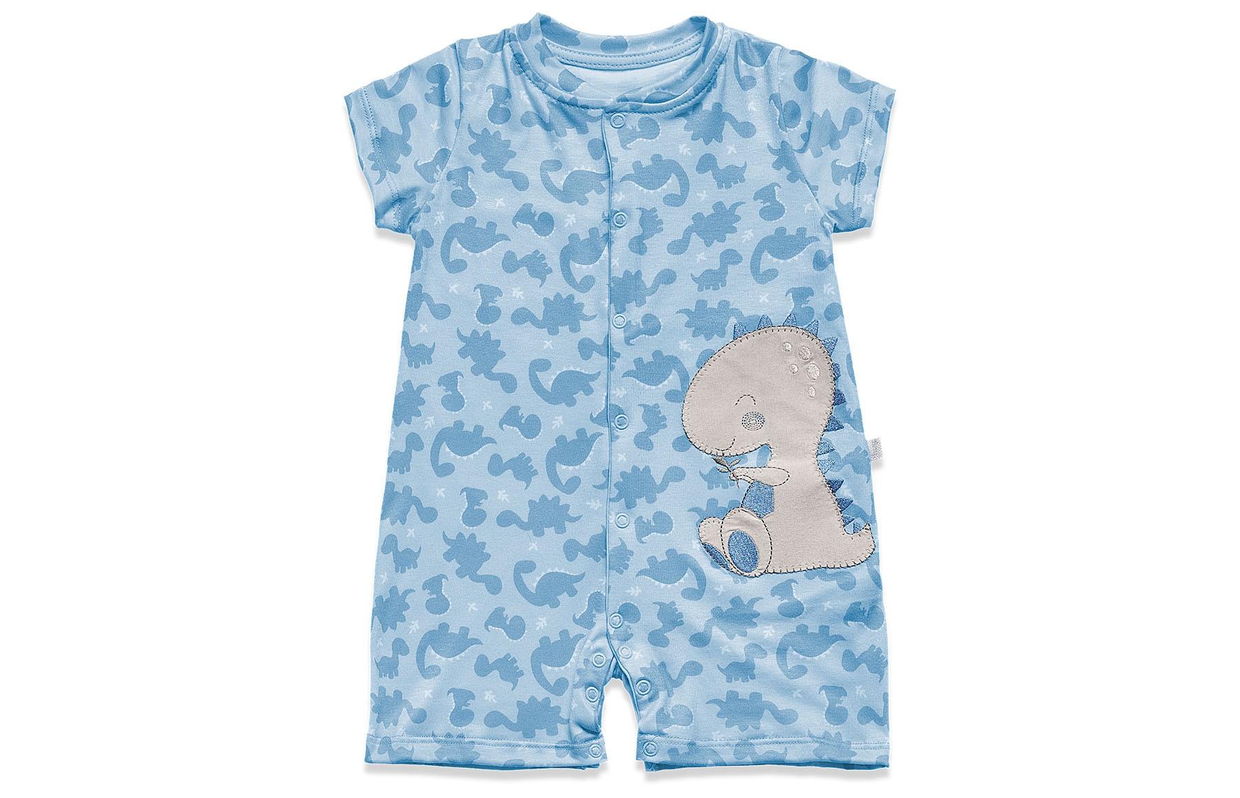 Macacao Curto Banho de Sol Meus Dinos - Dino Azul