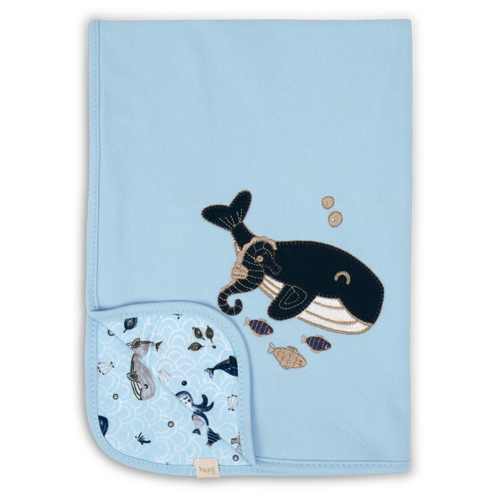 Manta De Suedine Fundo Do Mar Azul - Hug