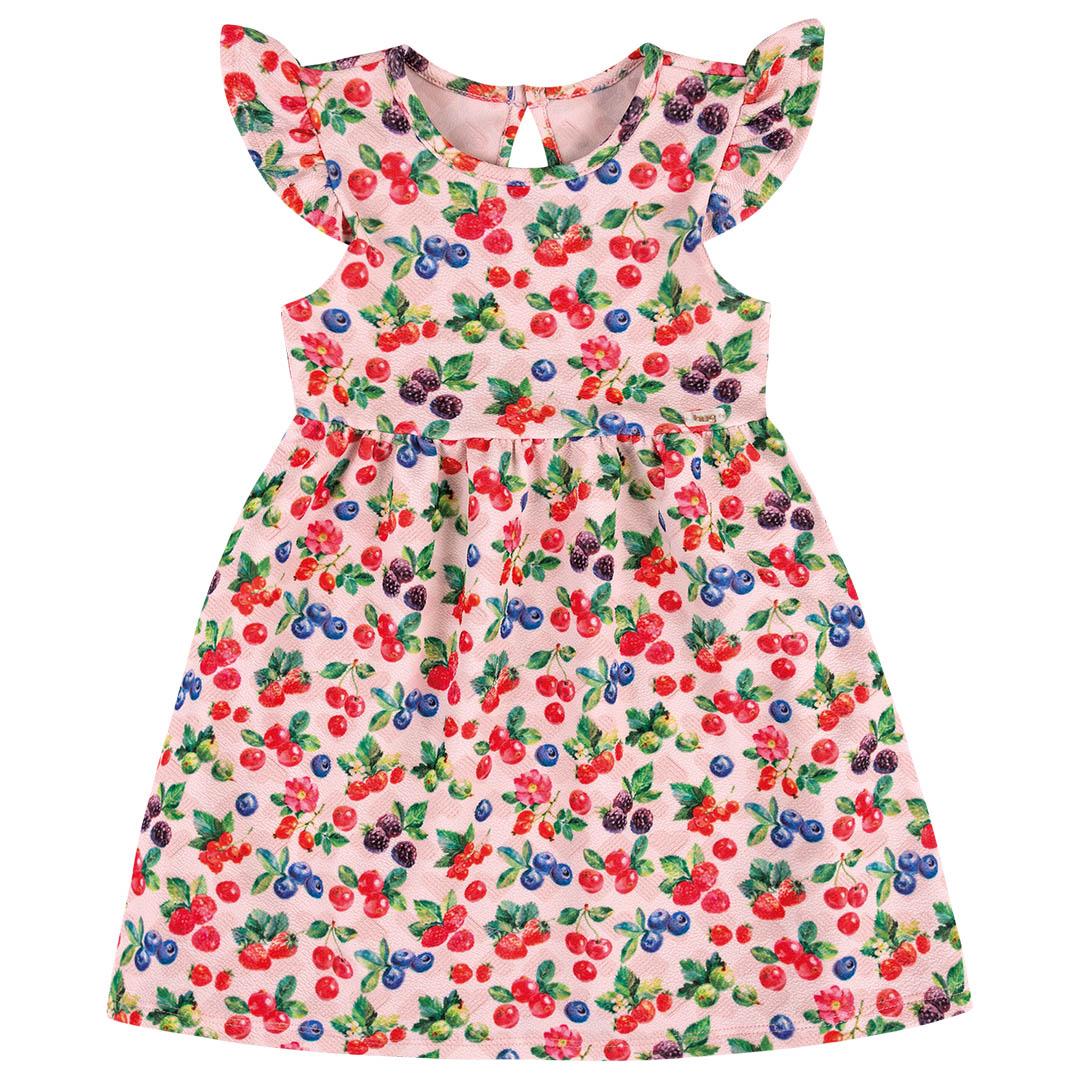 Vestido Bebê Manga Curta Tropical Rosa - Hug