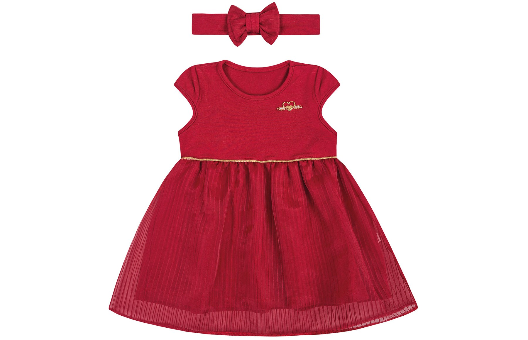 Vestido mg Curta + Faixa - Vermelho