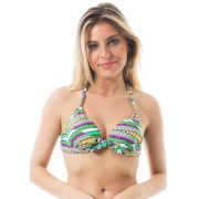 Biquíni Top Push-up com Bojo Estampado Verde Laguna-1
