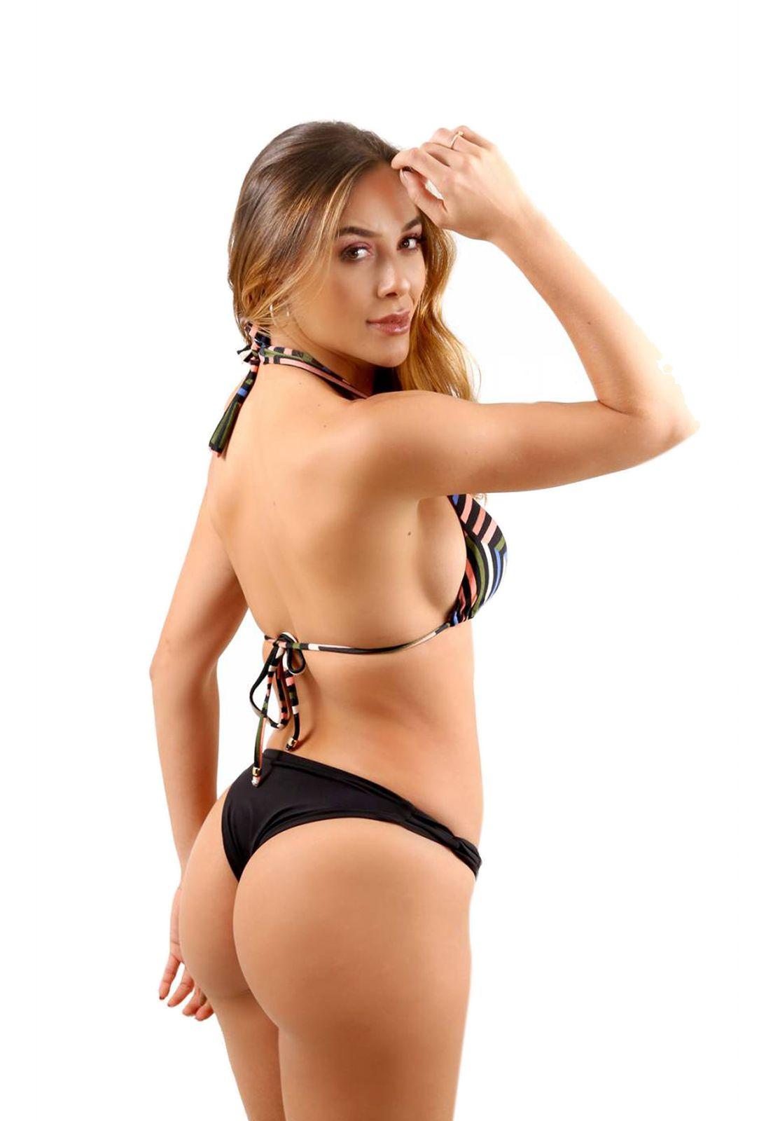 Biquíni Cortininha Flavia Donadio Beachwear Ravello com tanga preta