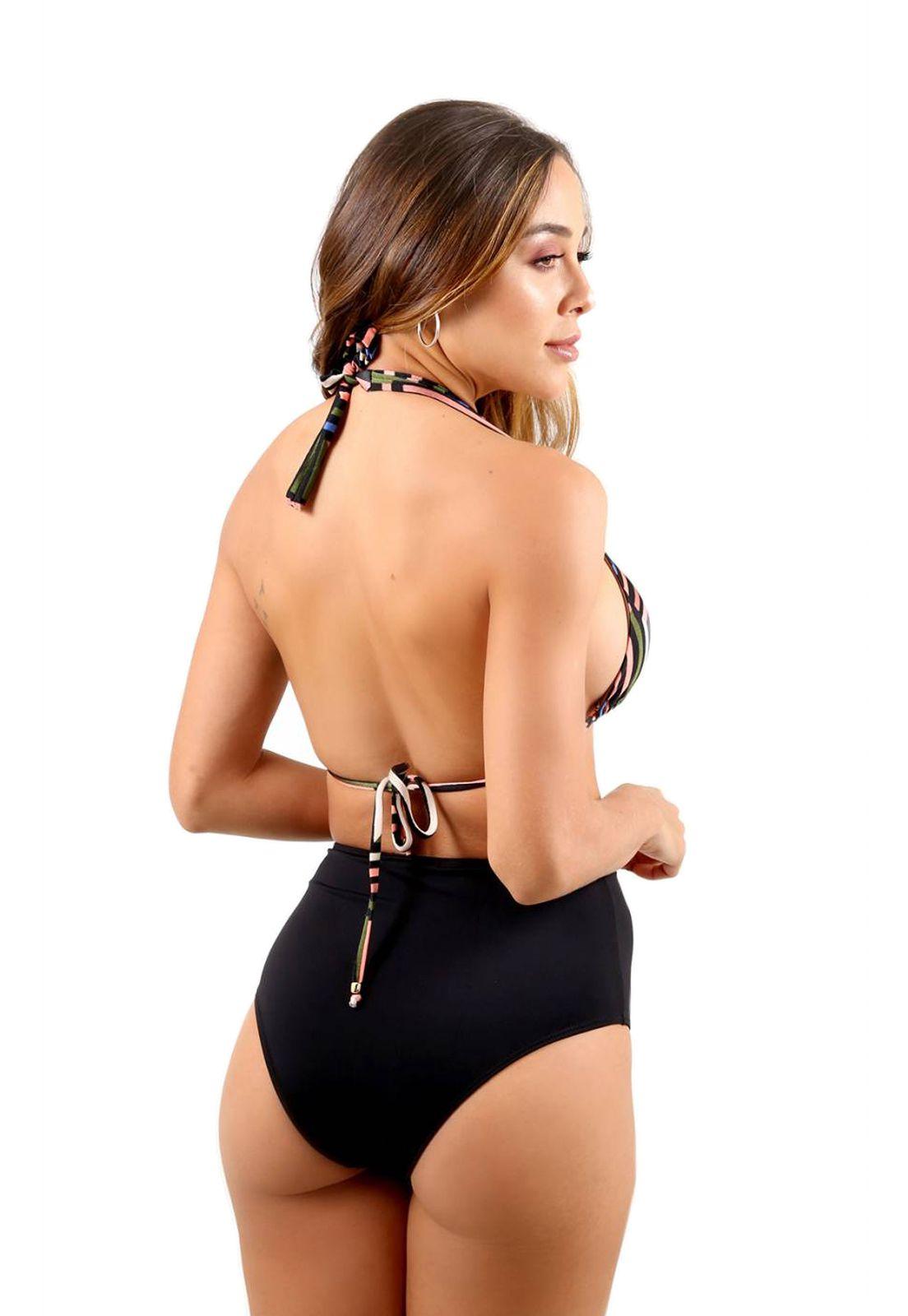 Biquíni Cortininha Flavia Donadio Beachwear Ravello com Hot Pant Preto