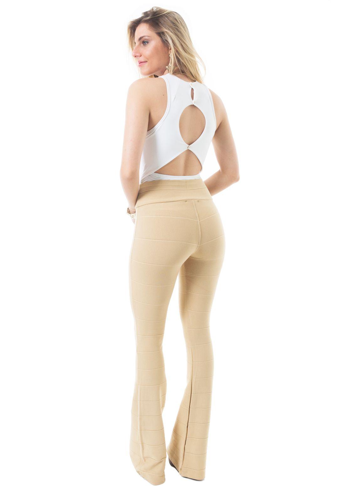 Calça Flare Bandagem Flavia Donadio Beachwear Nude