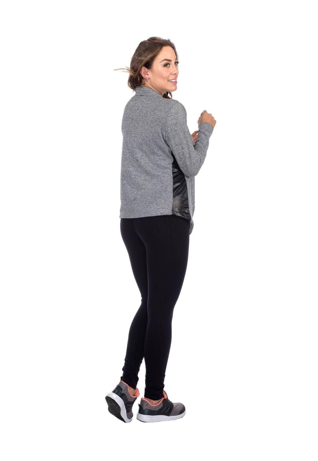 Cardigan Flavia Donadio Beachwear com recorte na lateral cinza escuro