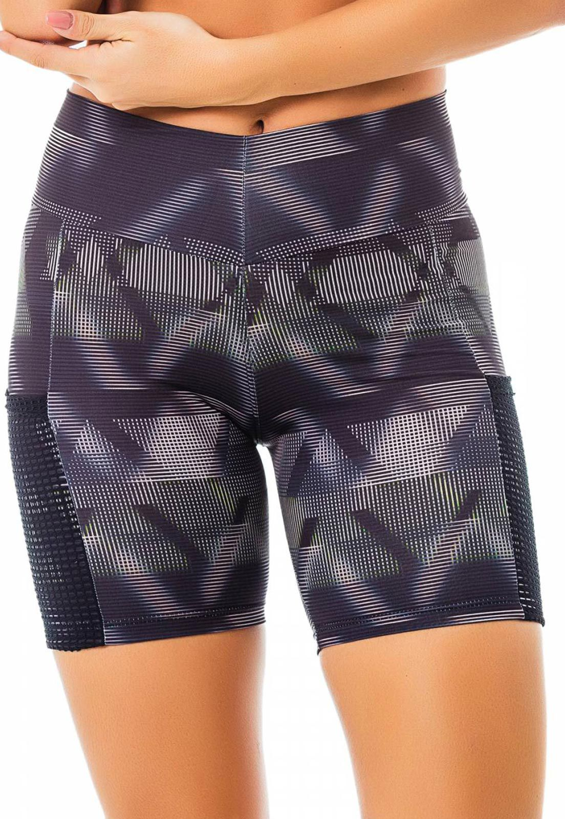 Shorts Fitness Flavia Donadio Beachwear Laguna Preto