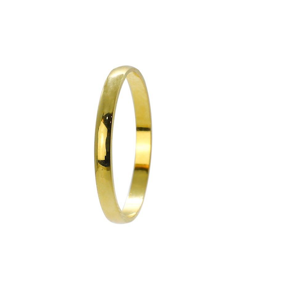 Aliança ouro 18k abaulada lisa 2,0mm